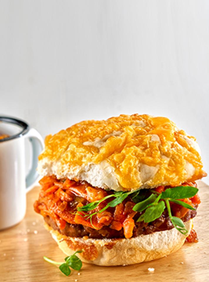 Chakalaka Burger in a Cheese Roll