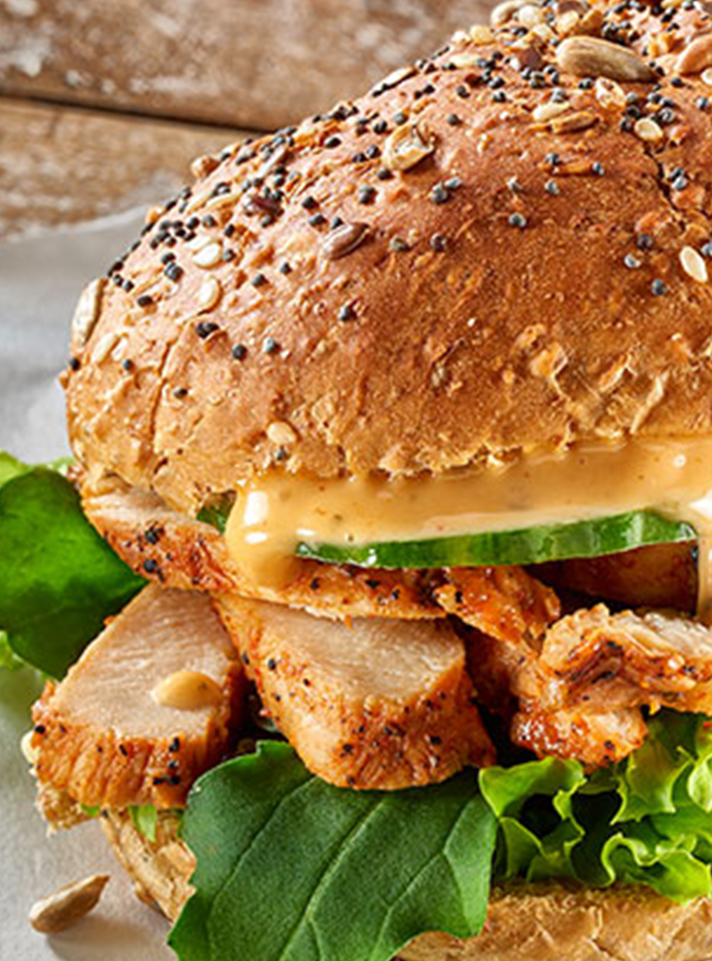 Chicken and Cucumber on a Seeded Bread Roll